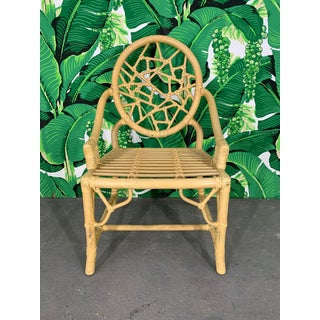 Rattan Cracked Ice Dining Chairs in the Manner of McGuire, Set of 4 Preview