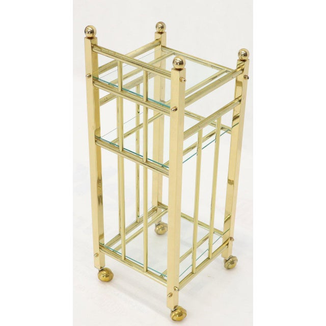 Mid-Century Modern Brass and Glass Square Stand Table Cart Pedestal on Wheels For Sale - Image 10 of 13