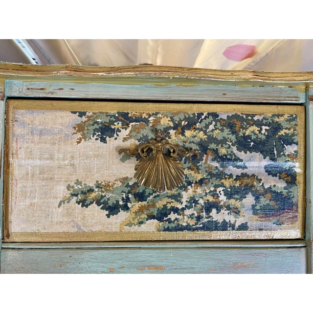 Baby Blue 1960s Night Stands Decoupaged With Idyllic Scene - a Pair For Sale - Image 8 of 11