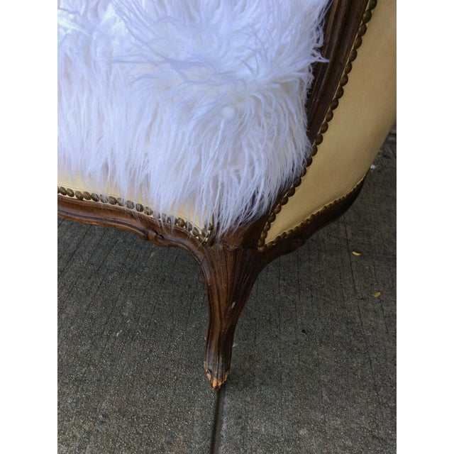 Vintage Leather & Faux Fur Club Chair For Sale - Image 10 of 10