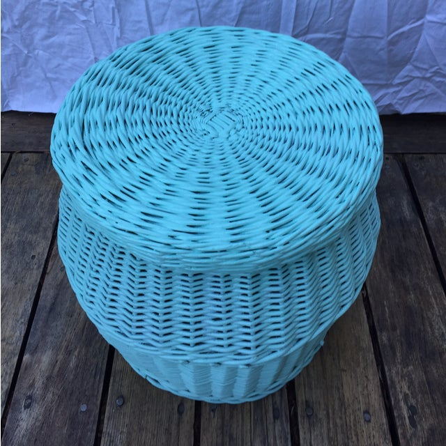 Vintage Turquoise Lidded Wicker Basket - Image 3 of 10