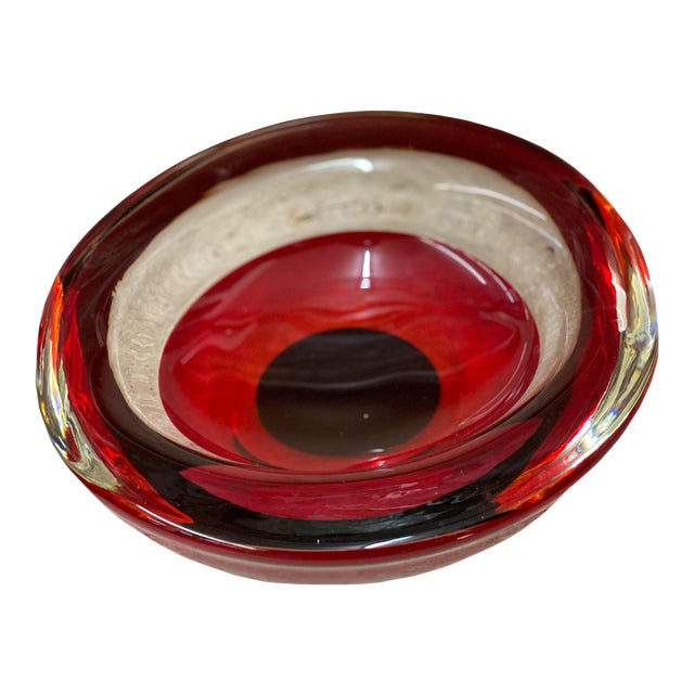 Mid Century Red Art Glass Bowl For Sale