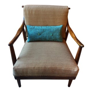Mid-Century Danish Modern Lounge Chair in Walnut, Reupholstered