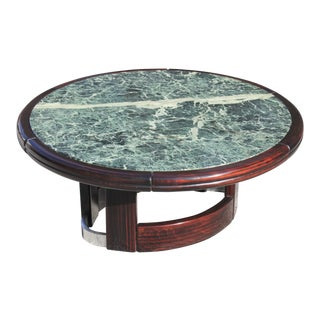 Unique French Art Deco Macassar Ebony Round Coffee or Cocktail Table With Green Marble Top.