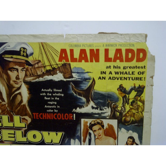 "Americana Vintage Movie Poster ""Hell Below Zero"" Alan Ladd & Joan Tetzel 1954 For Sale - Image 3 of 5"