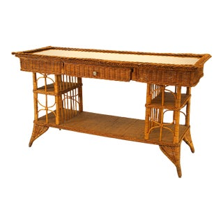 American Victorian Wicker Davenport Table For Sale