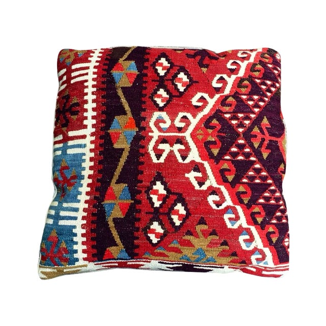 Vintage Red Geometric Turkish Kilim Pillow - Image 1 of 4