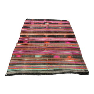 1960s Vintage Striped Turkish Wool Kilim Rug - 5′10″ × 8′7″ For Sale