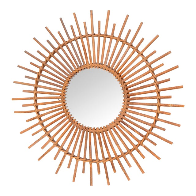 Bohemian Chic French Handcrafted Round Ficks Reed & Woven Wicker Wall Mirror For Sale