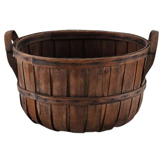 Early 1900s Split Wood Gathering Fruit Farm Basket W/ Handles