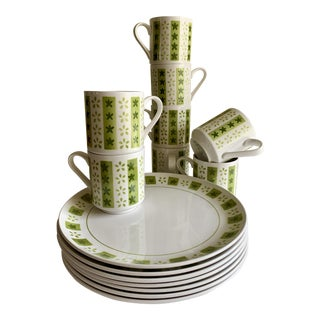 Midcentury Ceramic Plates & Cups, Set of Fourteen For Sale