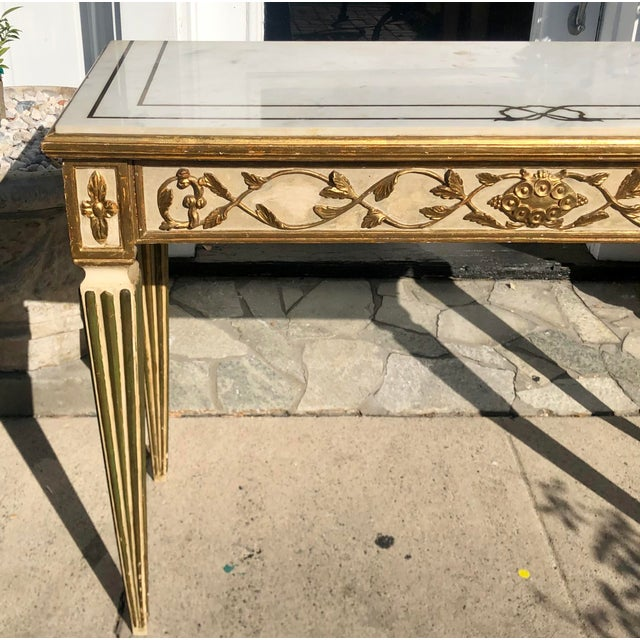 1950s Antique Old Hollywood Cannell & Chaffin Louis XVI Inlaid Italian Marble Console Table For Sale - Image 5 of 7