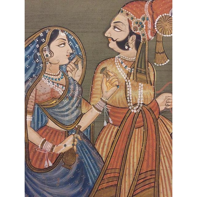 """Mid Century Modern India Silk Painting Camel Ride - 45"""" For Sale In Richmond - Image 6 of 11"""
