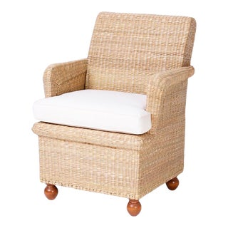 British Colonial Style Wicker Armchair From the Fs Flores Collection For Sale