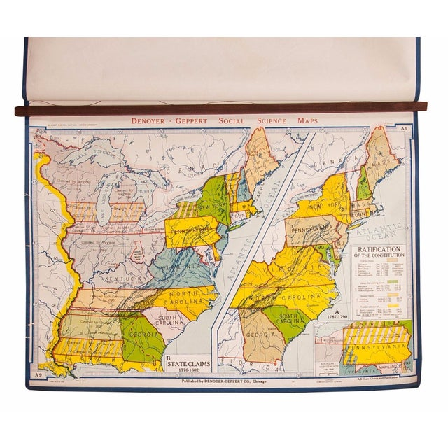 Vintage U.S. Ratification of the Constitution Map | Chairish