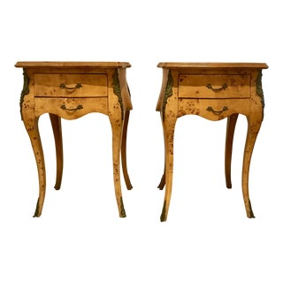 Vintage Art Deco Birds Eye Maple Side Tables Pair For Sale