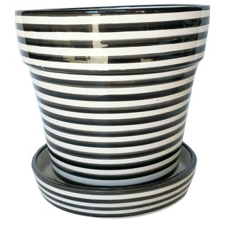 Modern Large Black & White Bullseye Ceramic Planter For Sale