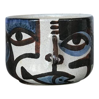 Abstract Face Ceramic Pottery Mug or Planter For Sale