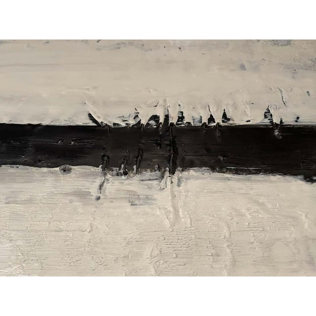 """1990s Lynn Basa Encaustic Black and White Stripe Panel """"Mostly White"""" 2012 For Sale - Image 5 of 12"""