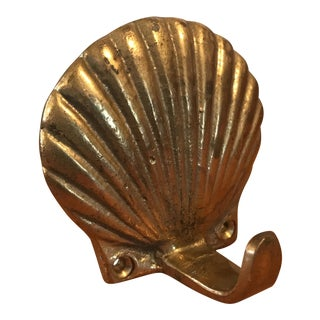 Vintage Brass Scallop Shell Wall Hook For Sale