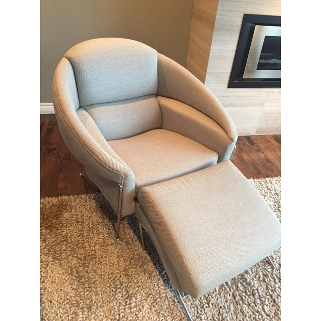 Custom made Milo Baughman Boldido lounge chair and ottoman pair. The fabric is a durable, yet lovely woven design, in a...