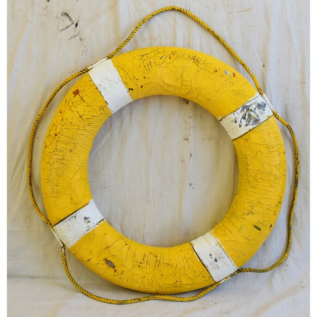 1950s Nautical New England Yellow Life Preserver For Sale - Image 4 of 7