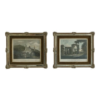 Pair Framed London England T. Hearne Colored Engraving Prints For Sale