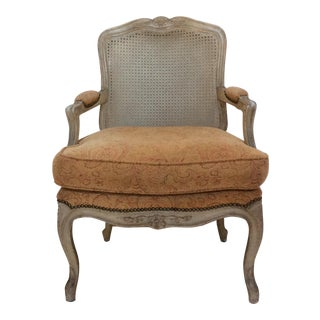 French Style Armchair With Caned Back For Sale