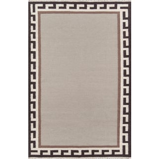 """Erin Gates Thompson Hinkley Brown Hand Woven Wool Area Rug 7'6"""" X 9'6"""" For Sale"""