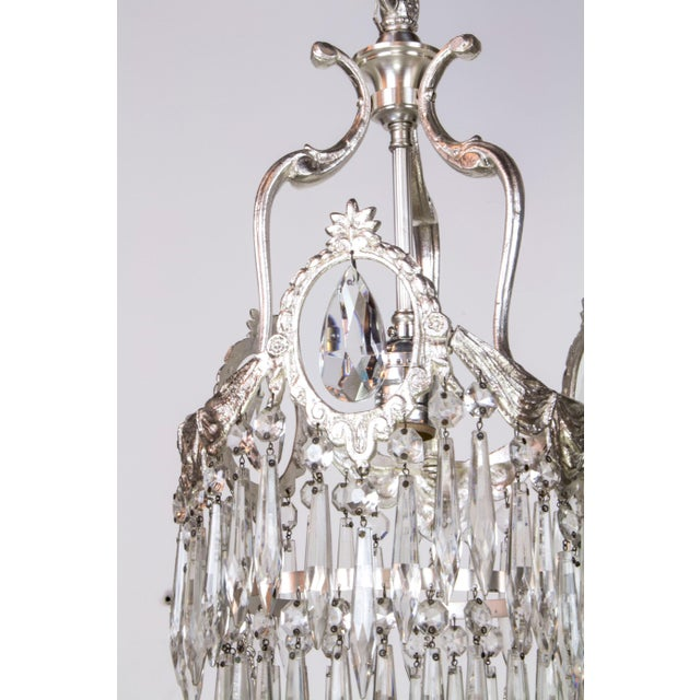 Art Deco Tiered Silver & Crystal Pendants - A Pair For Sale - Image 3 of 4