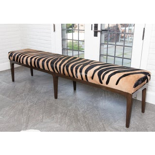 Walnut Bench With Zebra Stencil Cowhide Upholstered Seat Preview