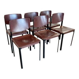 1970s Vintage Leather Dining Chairs - Set of 6 For Sale