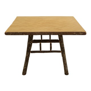 Adirondack Style Square Dining Table With Parquet Top For Sale