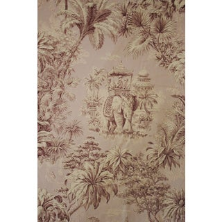 New French Fabric Chinoiserie Toile Design Heavy Printed Cotton Elephant Scenes Large Panel Mfta France &Quot;Maharani&Quot; 111X169 Inches For Sale