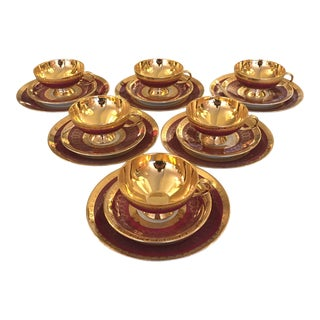 Early 20th Century Red and Gold Porcelain Tea / Coffee Set With Cake Plates - Service for 6 For Sale