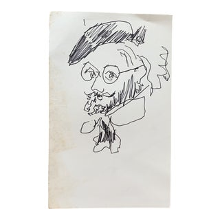 1940s Original Pen and Ink Portrait by Paul Chidlaw For Sale