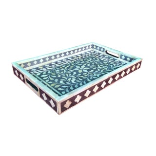 Hand Crafted Gray Floral Bone Inlay Serving Tray For Sale