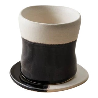 Contemporary Handmade Ceramic Demi Tumbler with Plate - Noir Blanc - 2 Pieces For Sale