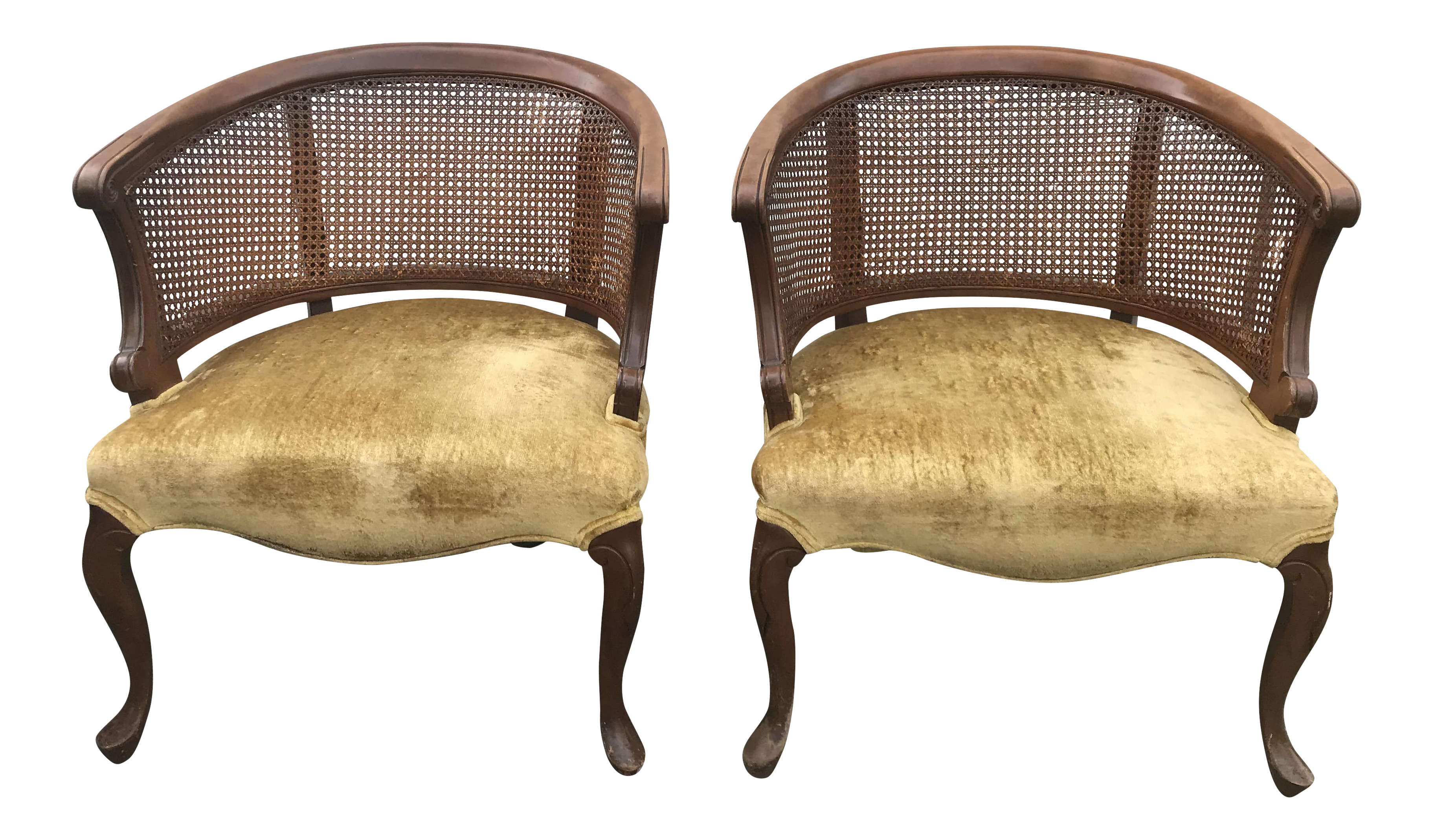 Delicieux Mid Century Cane Back Barrel Chairs   A Pair