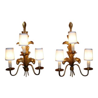 1950s Acanthus Leaf Gilt Metal Three-Candle Sconces - a Pair For Sale
