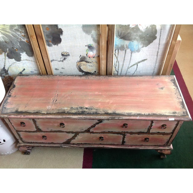 Chinese Pink Distressed Cabinet For Sale - Image 9 of 9