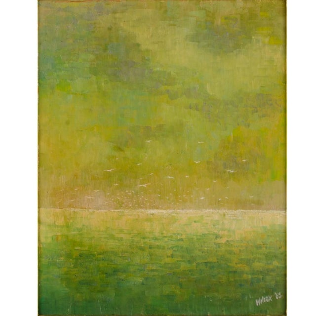 """1960s """"Flock of Seagulls"""" Abstract Oil Painting, Framed For Sale - Image 4 of 12"""