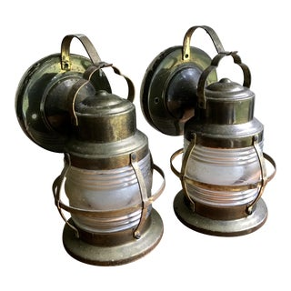 Vintage Railroad Lantern Style Sconces - a Pair
