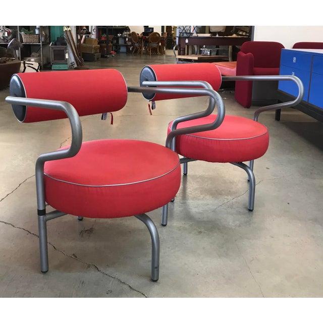 Modern Post Modern Red Danish Armchairs - A Pair For Sale - Image 3 of 10