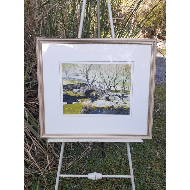 """Green Late 20th Century """"Slater Bridge in Little Langdale"""" Watercolor Painting by Cyril Driver, Framed For Sale - Image 8 of 8"""