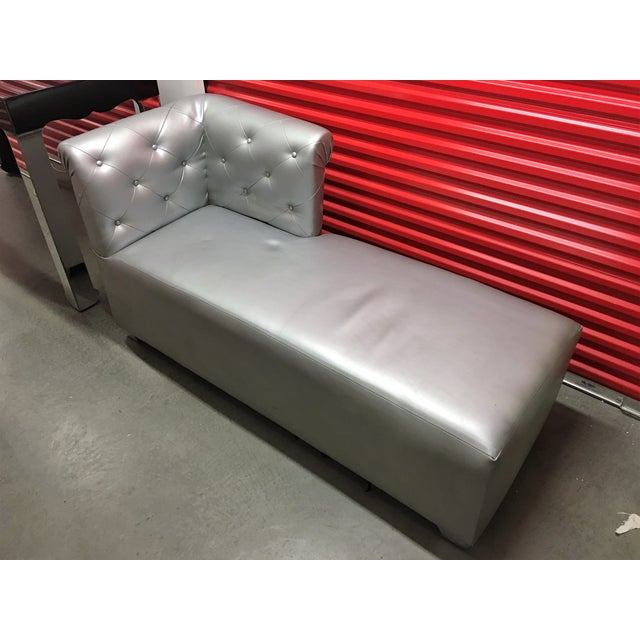 Silver Tufted Vinyl Chaise Lounge - Image 2 of 7