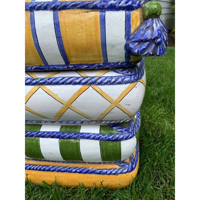 1970s 1970s Italian Trompe l'Oeil Stacked Pillow Teracotta Garden Seat For Sale - Image 5 of 10