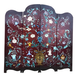 Antique Hand Painted Folding Screen For Sale