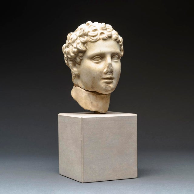 Neoclassical Hellenistic Marble Head of Alexander the Great For Sale - Image 3 of 8