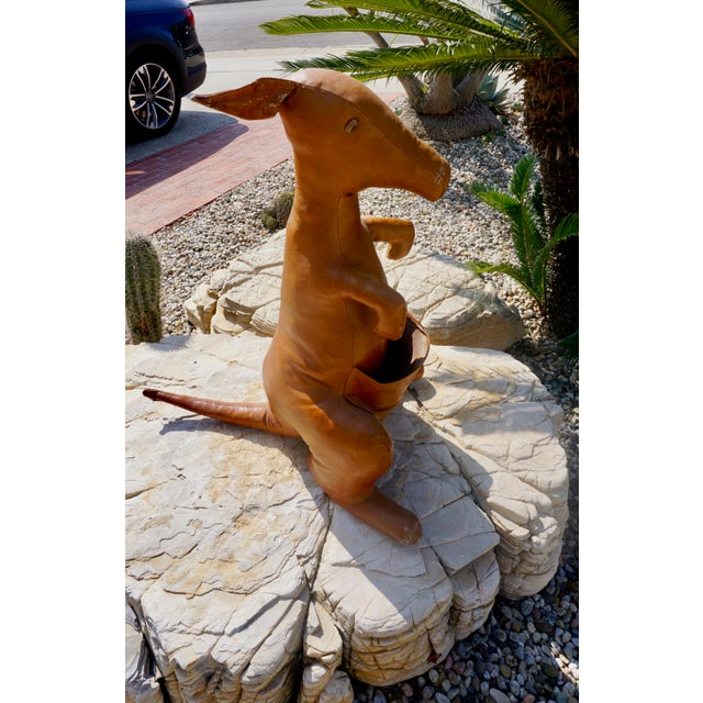 Mid-Century Modern Floppy Eared Leather Kangaroo by Dmitri Omersa For Sale - Image 3 of 6